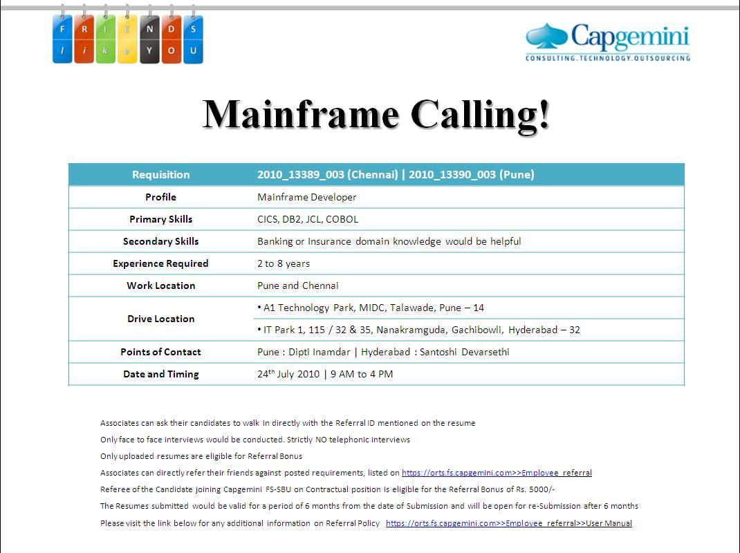 mainframe walkin on 24th july in capgemini  u00ab pavan dba u0026 39 s blog